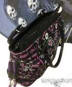 BANNED Ladies Gothic Purple Sugar Skull Shoulder Bag